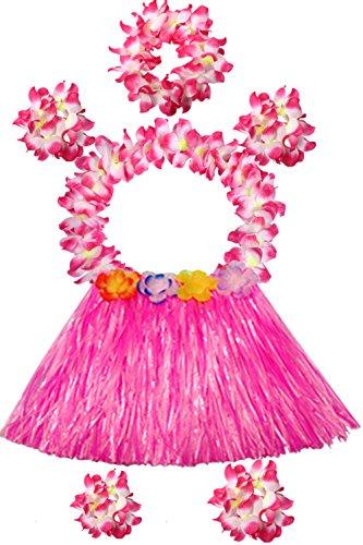 Hawaii 40cm Grass Skirt with Flowers Bracelets Headband Necklace Hula Set (7 PC