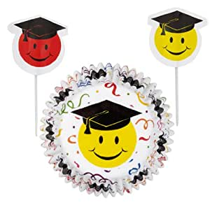 Wilton 415-0980  Smiley Graduation Baking Cups Combo Pack,24-Pack- Discontinued By Manufacturer