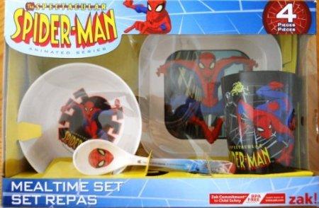 Zak Designs Spiderman 3 4ピースMealtimeセット   B00VFM625E