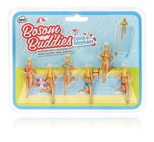 NPW Bosom Buddies Drinking Gals Drink and Wine Glass Markers (2 Pack) by NPW (Image #1)