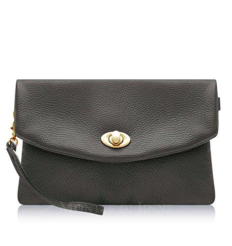 Lock Clutch Genuine 100 Montte Italian Grey Jinne Leather Postman's Leather Leather Soft Di Dark Bag Italian PRYaqRwzU