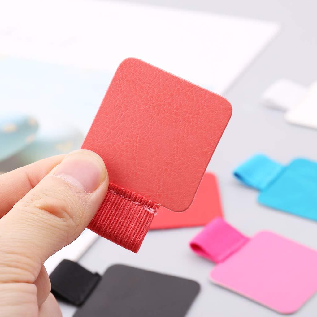 Yanhonin prensatelas para bol/ígrafos soporte 3 unidades cuadradas autoadhesivas de piel con clip para l/ápices o hebillas el/ásticas para cuadernos de peri/ódicos color rojo 5.5x4cm