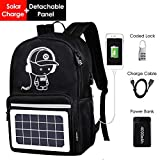 Travel Laptop Backpack,Business Solar Durable Computer Backpack with USB Charging Port and Power Bank,Anti TheftCollege School Bookbag for Women Men Boys Girls Fit 15.6 inch Laptop and Notebook For Sale