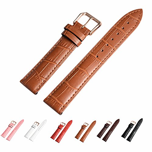 Leather Watch Band with Rose Gold Watch Buckle - Choices of Color & Width (18mm,20mm or 22mm) Genuine Cowhide Interchangeable Strap(20mm,Light Brown) - Interchangeable Strap