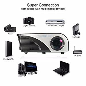 Portable LED Projector,ELEGIANT 1080P 1200 Lumens Mini Multimedia Home Theater Projector,Max 120'' Screen Optical Keystone AV/VGA/SD/USB Interface,Ideal for Video Game,Movie Night Black