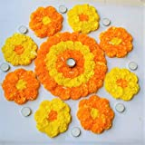 PRAHLL Rangoli Tlite Diyas with Artificial Marigold Flower Mat on Canvas for Diwali (Pack of 19 Pieces, 1-12-inch Mat, 8-6-inch Mats, 1 Tealight Holder and 9 Tea Lights, Orange and Yellow)