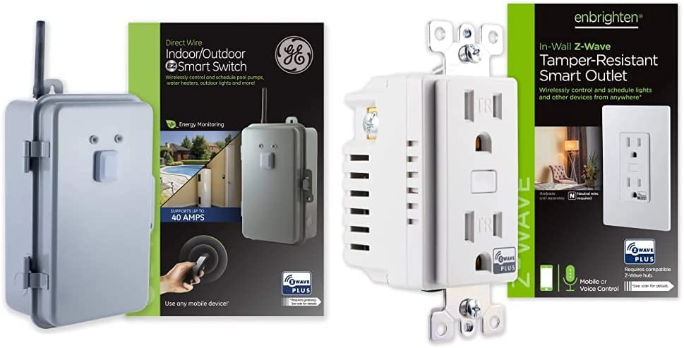 GE Z-Wave Plus 40-Amp Indoor/Outdoor Metal Box Smart Switch, Direct Wire, 120-277VAC, Gray & Enbrighten 55256 Z-Wave Plus Smart Receptacle, Works with Alexa, Google Assistant, Tamper-Resistant, White