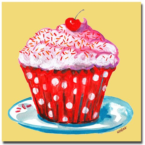 Cupcake by Wendra, 14x14-Inch Canvas Wall Art