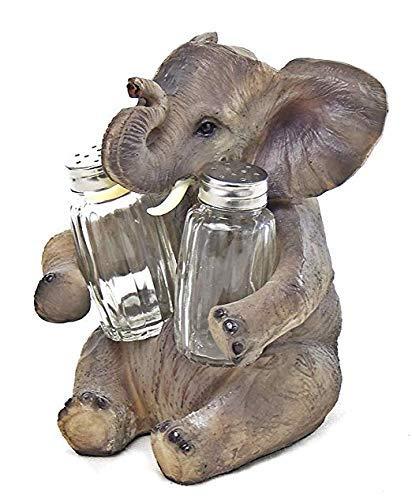 (Happy Elephant Sitting Salt and Pepper Shaker, 6.5