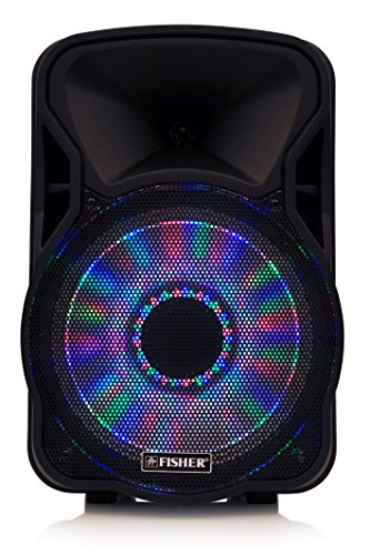Fisher Wireless Portable PA Speaker with 300 Watts Super-Bass, Bluetooth Enabled, Multi-Color LED Disco Lights, FM Radio, Karaoke Features, Auxiliary Input, and Built-in Microphone