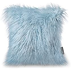 "PHANTOSCOPE Decorative New Luxury Series Merino Style Light Blue Faux Fur Throw Pillow Case Cushion Cover 18"" x 18"" 45cm x 45cm"