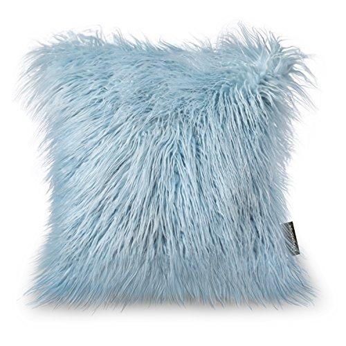 PHANTOSCOPE Decorative New Luxury Series Merino Style Light Blue Faux Fur Throw Pillow Case Cushion Cover 18