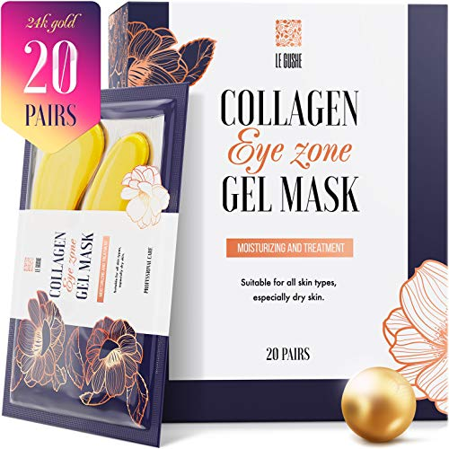 Under Eye Patches - 24K Gold Under Eye Mask Anti-Aging Hyaluronic Acid Collagen Under Eye Pads Reducing Dark Circles & Wrinkles Treatment Gel Bags (Best Collagen For Wrinkles)