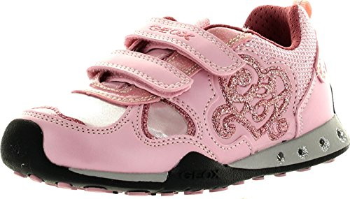 Geox JR New Jocker Girl Lighted Fashion Sneaker (Toddler/Little Kid/Big Kid),Pink,34 EU (3 M US Big Kid)