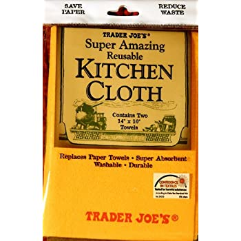 "Trader Joe's Reusable KITCHEN CLOTH - Two 14""x10"" Towels"