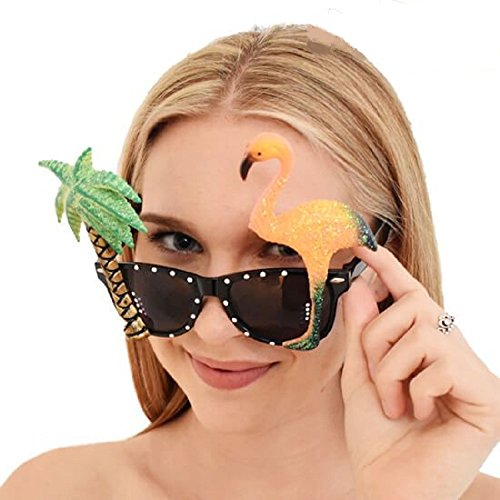 Price comparison product image ISLAND STYLE CLOTHING Flamingos Pink Palm Glasses Party Fancy Dress Luau