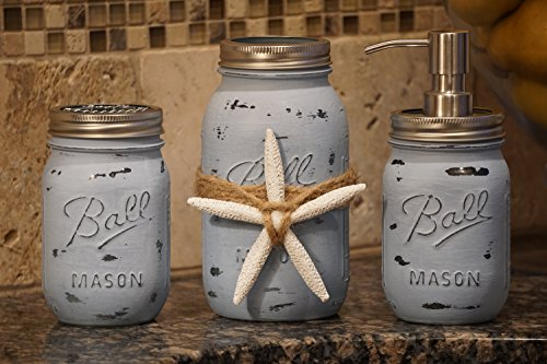 Hand-Painted-Rustic-Coastal-Decor-3-Piece-Ocean-Blue-Distressed-Mason-Jar-Bathroom-Accessories-Set-With-Easily-Removable-Starfish
