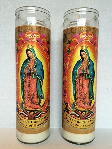 Guadalupe Glass (Our Lady of Guadalupe Glass Prayer Candles 8 Inch Devotional Candles (Pack of 2))