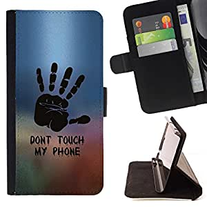 For Sony Xperia m55w Z3 Compact Mini DON'T TOUCH MY PHONE Style PU Leather Case Wallet Flip Stand Flap Closure Cover