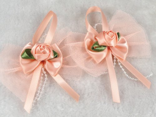 14 Pcs Satin Lace Streamers Rose the Wedding Decoration Appliques 7 Color U Pick (Peaches)