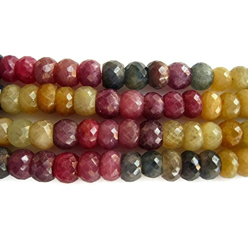 - 8 Inch Strand/36 Pieces Approx/Multi Sapphire Faceted Rondelle Beads/7mm Round Beads