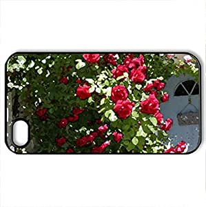 Rose Covered Cottage - Case Cover for iPhone 4 and 4s (Houses Series, Watercolor style, Black)