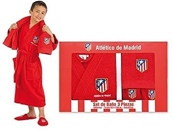 Atlético de Madrid Set de Regalo Oficial - Albornoz + Zapatillas + Toalla. Talla 12 a 16 años, Rojo: Amazon.es: Hogar