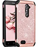 zte imperial 2 cases - ZTE Grand X Max 2 Case, ZTE Imperial Max Case, BENTOBEN Glitter Hybrid Hard PC Faux Leather Dual Layer Shockproof Protective Phone Case for ZTE Grand X Max 2 Z988 / ZTE Imperial Max Z963U, Rose Gold