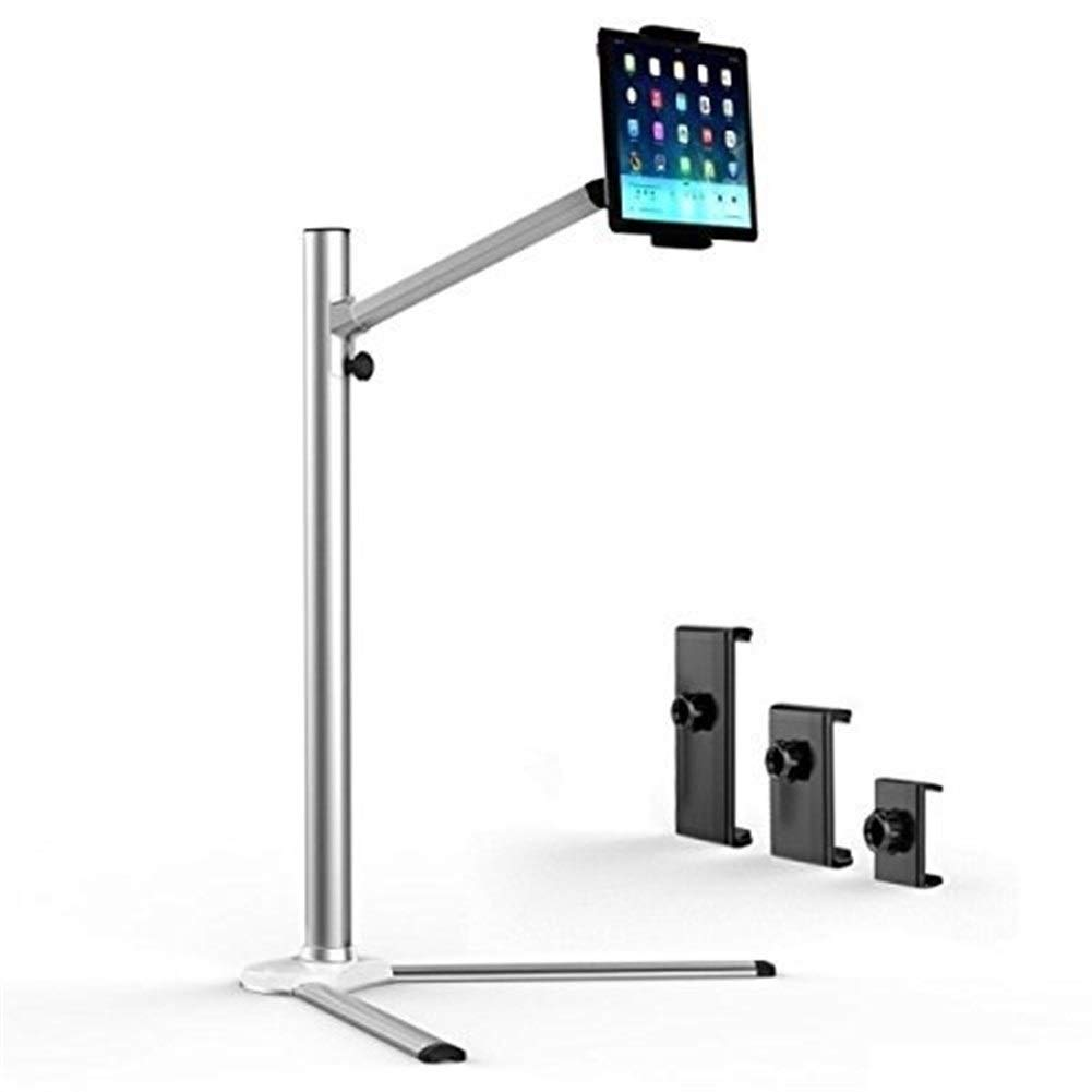 ASJHK Aluminium Floor Stand, for 3.5''- 10'' Tablets and Phones, Standing Holder, Stable, Premium Design, Incl. 3X Holders. Height Angle Adjustable, Rotatable, Professional, Silver by ASJHK