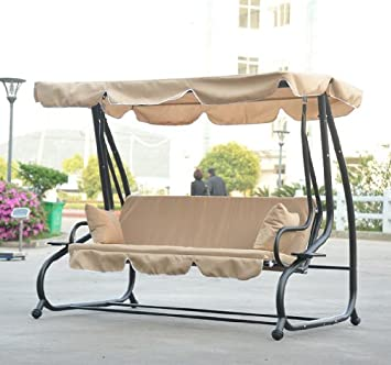Outsunny Covered Outdoor Porch Swing/Bed With Frame, Sand