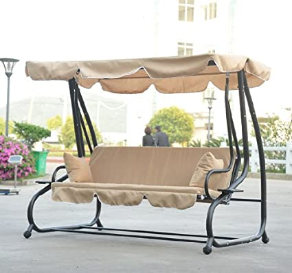 outsunny covered outdoor porch swingbed with frame sand - Porch Swing Bed