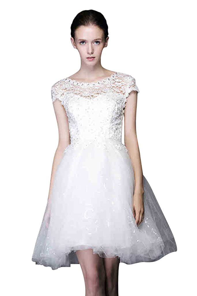 Vimans Short Beaded Lace Bridal Reception Dresses Beaded Gowns For