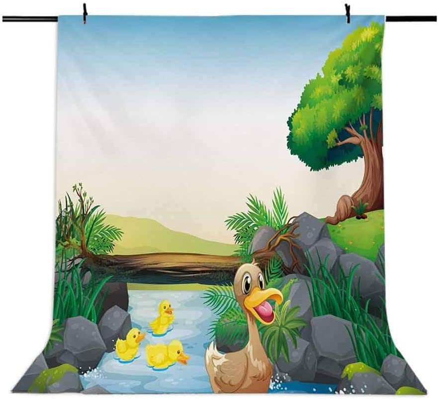 10x15 FT Photography Backdrop Cartoon Mother and Ducklings River Kids Fun Farm Animals Print Outdoor Feathers Background for Photography Kids Adult Photo Booth Video Shoot Vinyl Studio Props