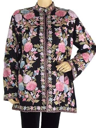 Black Cashmere Embroidered Jacket Ladies Elegant Clothing Coat Party Wear XL
