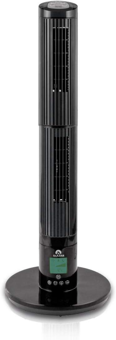 Glaziar 2 Ventilador Torre Orientable, 45 W, Plástico, 9 Velocidades, Negro