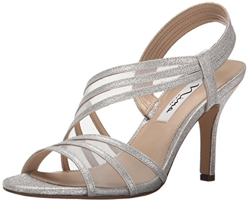 NINA Women's Vitalia Dress Sandal, Silver, 8 M US