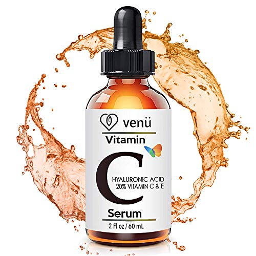 Vitamin C Serum for Face with Hyaluronic Acid, Aloe and Vitamin E.- Skin Nutrient, helps Smooth Facial Skin Fade Age Spots, Lighten Dark Eye Circles and Fine Lines (2 oz)