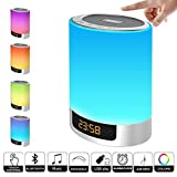 Night Light Bluetooth Speaker, MJDUO Alarm Clock with Touch Control LED Lamp Bedside Lamp Color Changing Wireless Speaker USB AUX MP3 Music Player Best Gift for Kids,Party,Bedroom,Outdoor