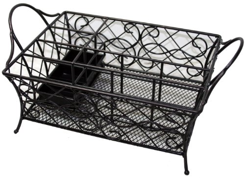 Chatham wrought iron picnic caddy holds napkins flatware and napkins outdoor kitchens patio - Wrought iron silverware ...
