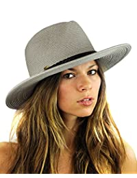 NYFASHION101 Teardrop Dent Braided Trim Casual Panama Fedora Sun Hat