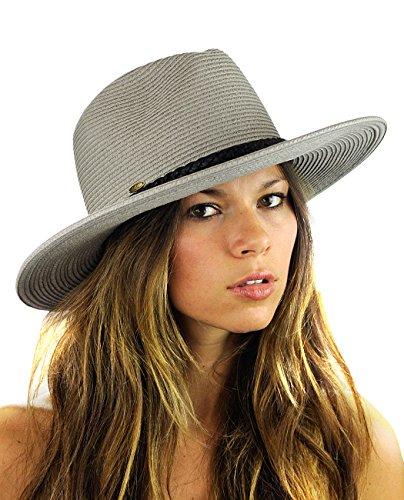 NYFASHION101 Teardrop Dent Braided Trim Casual Panama Fedora Sun Hat, Gray -