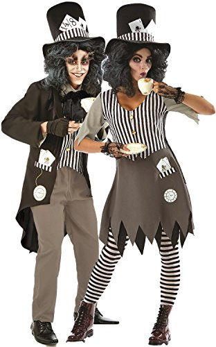 Couples Ladies AND Mens Hallowed Hatter Dark Twisted Wonderland Fairy Tale Halloween Horror Scary Fancy Dress Costumes Outfits (UK 12-14 - mens -