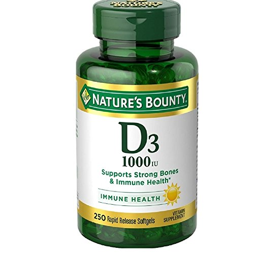 Nature's Bounty Vitamin D-1000 IU, Rapid Release Softgels 250 ea (Pack of 12) by Nature's Bounty