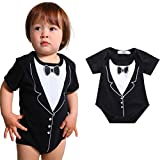 SUPPION 2016 Newborn Infant Boys Bow Tie Printing suit Romper Jumpsuit