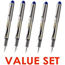 Pilot V Pen (Varsity) Disposable Fountain Pens, Blue Ink, Small Point Value Set of 5(With Our Shop Original Product Description)