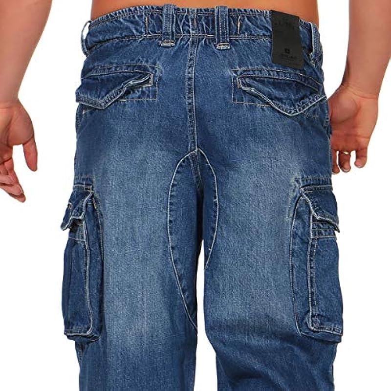 Jet Lag Męskie spodnie cargo Jeans Safety Loose-Fit Denim Light Navy L/32: Odzież