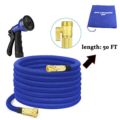 Advaka 50FT Durable Expandable Heavy Duty Fabric Expanding Garden Water Hose Set with 8 Pattern Spray Nozzle, Solid Brass Connector Fitting for Plants, Cleaning Windows, Washing Cars, Dogs (Blue)