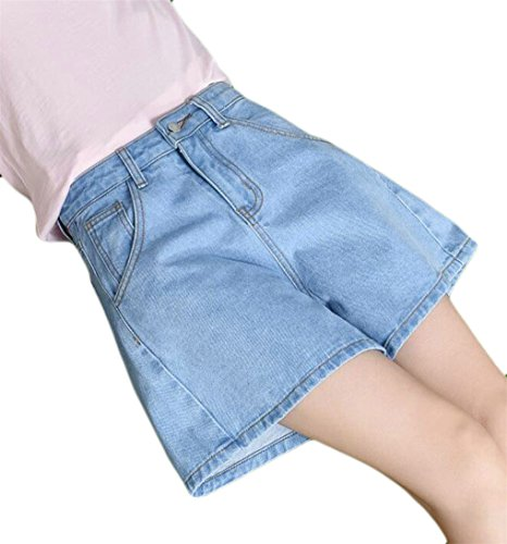 XiaoTianXin-women clothes XTX Womens Summer High Waist Wide Leg Washed Beach Jeans Denim Shorts Light Blue Small