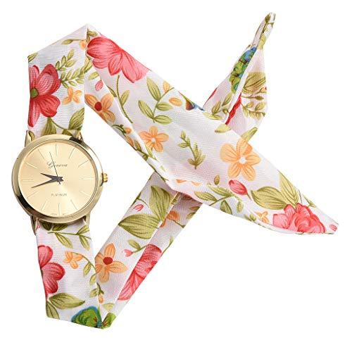 Sodoop [2019 Newest !!] Women's Quartz Wrist Watch, Fashion Women Printing Flower Cloth Design Bracelet Strap Glass Dial Window Quartz Analog Wrist Watch