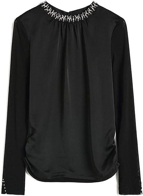 XLNSMZ Camisa Entallada de Manga Corta con Cuello de Manga Corta de otoño e Invierno para Mujer: Amazon.es: Deportes y aire libre